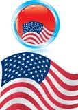 Indicador americano y botón brillante Fotografía de archivo libre de regalías