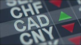 Indicador cada vez mayor de la tarifa de cambio del Dólar canadiense en la pantalla de ordenador Teletipo de las divisas del cad metrajes