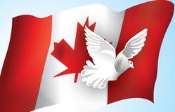 Indicador canadiense y una paloma Imágenes de archivo libres de regalías