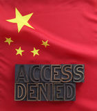 Indicador chino con palabras negadas acceso Imagen de archivo libre de regalías