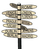 Indicador con las mejores ciudades europeas a visitar Fotografía de archivo libre de regalías
