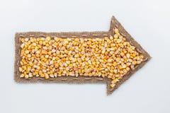 Indicador con los granos del maíz Imagen de archivo
