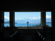 Indicador da igreja de Tekapo do lago Foto de Stock Royalty Free