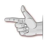 Indicador da mão, da interpretação, da referência e Imagens de Stock
