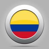 Indicador de Colombia Botón redondo gris del metal brillante Fotografía de archivo