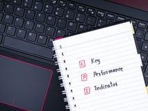 Indicador de desempenho chave no teclado do portátil Imagens de Stock Royalty Free