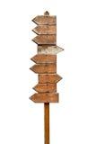 Indicador de dirección de madera Foto de archivo libre de regalías