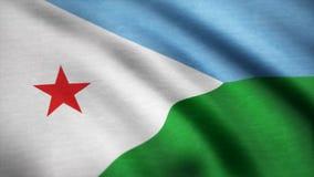Indicador de Djibouti Animación de colocación inconsútil del fondo Bandera de Djibouti que agita en el viento Fondo con la materi ilustración del vector