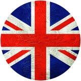 Indicador de Grunge Gran Bretaña Bandera del botón de Union Jack aislada en wh Fotos de archivo libres de regalías