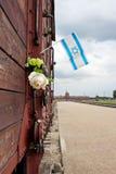 Indicador de Israel en el carro del tren, Auschwitz Imágenes de archivo libres de regalías