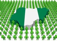 Indicador de la correspondencia de Nigeria rodeado por muchos peopl stock de ilustración
