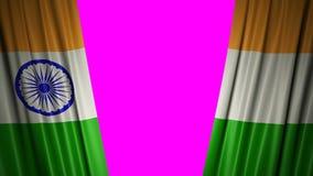 Indicador de la India animación 3d de la apertura y de cortinas cerradas con la bandera 4K stock de ilustración