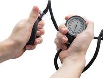 Indicador de la presión arterial. Fotos de archivo