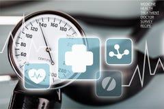 Indicador de la presión arterial Imagen de archivo libre de regalías