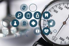 Indicador de la presión arterial Imágenes de archivo libres de regalías