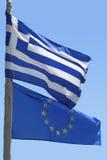 Indicador de la unión europea y del indicador griego Foto de archivo libre de regalías