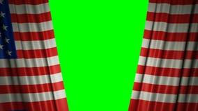 Indicador de los E animación 3d de la apertura y de cortinas cerradas con la bandera 4K libre illustration