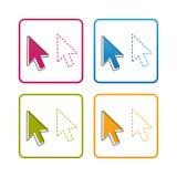Indicador de ratón del ordenador - esquema diseñó el icono - ejemplo colorido del vector - aislado en el fondo blanco libre illustration