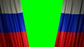 Indicador de Rusia animación 3d de la apertura y de cortinas cerradas con la bandera 4K stock de ilustración