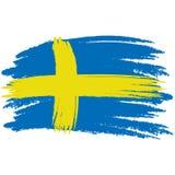 Indicador de Suecia Bandera pintada cepillo de Suecia Dé el ejemplo exhausto del estilo con un efecto y una acuarela del grunge I stock de ilustración
