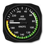 Indicador de velocidade aerodinâmica dos aviões da aviação ilustração stock