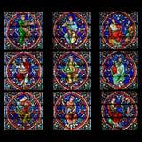 Indicador de vidro manchado, catedral de Notre Dame, Paris Imagens de Stock