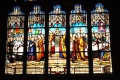 Indicador de vidro manchado da igreja Imagens de Stock
