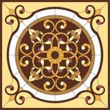 Indicador de vidro manchado 6 Flor abstrata no quadro quadrado, geométrico, janela no teto no quadro quadrado, composição simétri ilustração stock