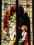 Indicador de vidro manchado na igreja polonesa em Milwaukee Imagens de Stock Royalty Free