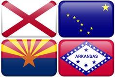 Indicador del estado: Alabama, Alaska, Arizona, Arkansas Fotografía de archivo