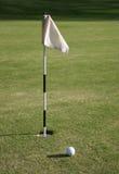 Indicador del golf y agujero del golf Foto de archivo libre de regalías