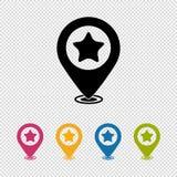 Indicador del mapa, buscador de la ubicación, icono preferido - ejemplo del vector aislado en fondo transparente stock de ilustración
