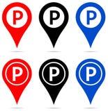 Indicador del mapa con los iconos de la muestra del estacionamiento stock de ilustración