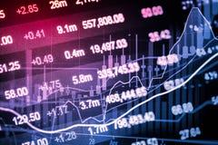 Indicador del mercado de acción y opinión de datos financieros del LED doble Imágenes de archivo libres de regalías