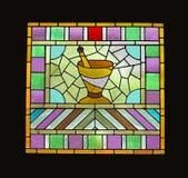 Indicador do apothecary de vidro manchado do indicador isolado. imagem de stock royalty free