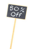 Indicador do quadro-negro sinal de uma venda de 50 por cento Foto de Stock