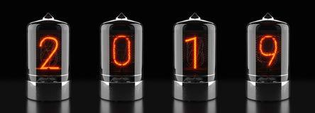 Indicador do tubo de Nixie, indicador com descarga a gás da lâmpada no fundo escuro O número 2019 de retro rendição 3d Fotografia de Stock Royalty Free