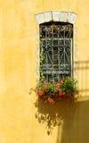 Indicador em uma parede amarela. Imagens de Stock Royalty Free