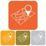 Indicador en icono del mapa Fotos de archivo libres de regalías