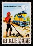 Indicador ferroviario de la mujer, año internacional de la mujer, circa 1976 Fotos de archivo libres de regalías