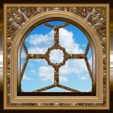 Indicador gótico ou do scifi com céu azul Foto de Stock