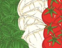 Indicador italiano Mozarela, albahaca verde y tomates Imagen de archivo