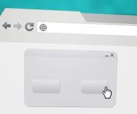 Indicador Pop-up em branco no web browser imagens de stock