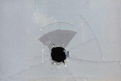 Indicador quebrado, furo feio no vidro fotos de stock