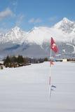 Indicador rojo en agujero en el campo del golf Foto de archivo