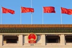 Indicador rojo y emblema nacional chino, Pekín Imagenes de archivo