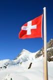 Indicador suizo en los campos de nieve del Jungfrau Imagen de archivo libre de regalías