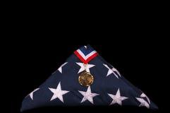 Indicador y medalla del ataúd del veterano Fotografía de archivo libre de regalías