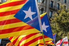 Indicadores catalanes de la independencia Fotos de archivo libres de regalías