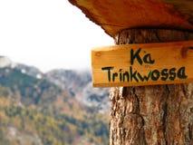 Indicadores de madera de las muestras de las montañas Imagen de archivo